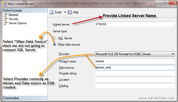 Creating Linked server to SYBASE from SQL Server – SQL-Articles